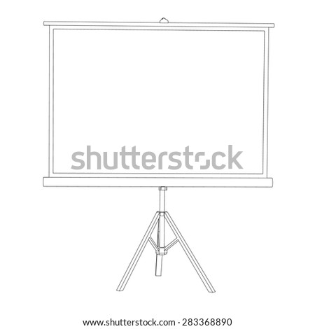 The white screen for a projector on a tripod