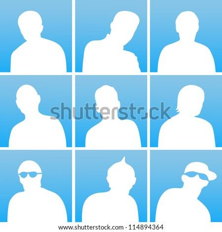 The white silhouettes of a people for avatar on blue background - stock vector