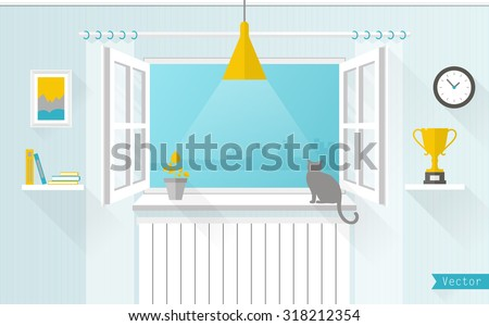 The window overlooking the city. Room in a flat style. Vector illustration. - stock vector