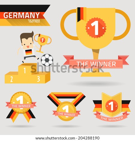 the winner first prize with germany flag vector - stock vector