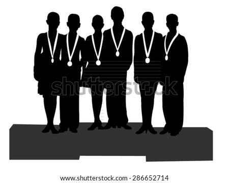 the winners at sport, icon, vector - stock vector
