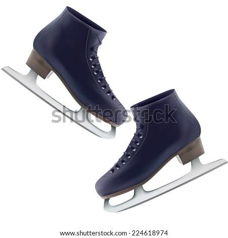 the winter skates on a white background. vector illustration - stock vector