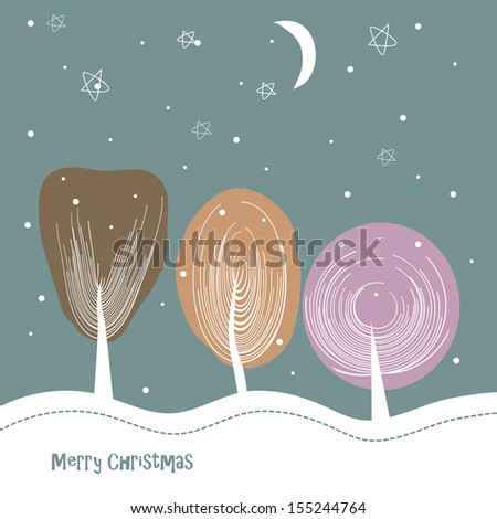The winter trees a snow goes stars and the moon - stock vector