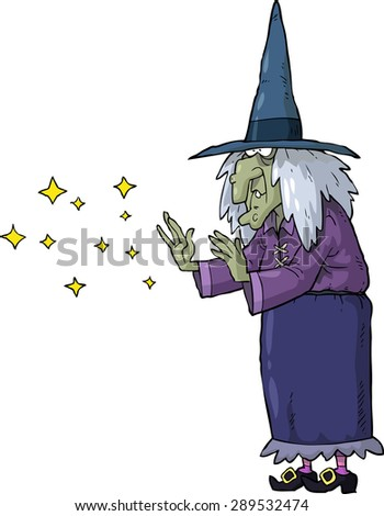 The witch conjures on a white background vector illustration - stock vector