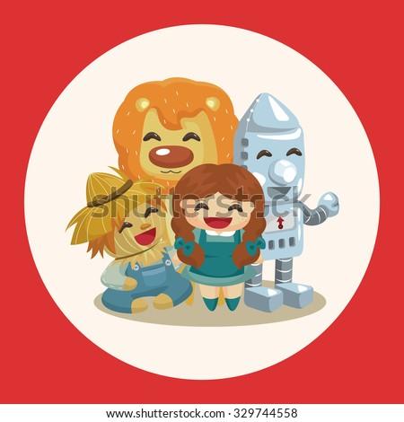 The Wizard of Oz cartoon theme elements - stock vector