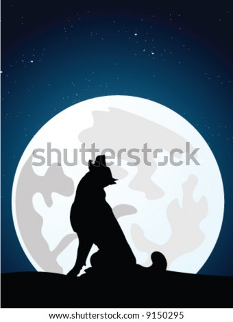 The wolf howls on the full moon. vector illustration - stock vector