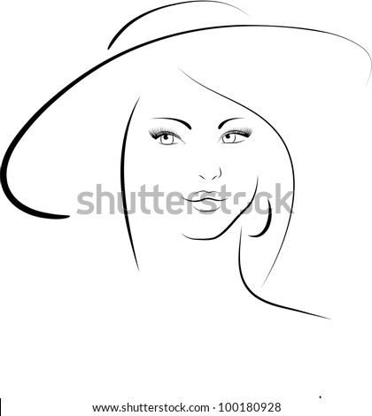 The woman in a hat - stock vector