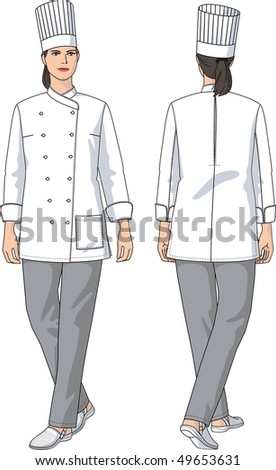The woman in a suit of the cook with pockets