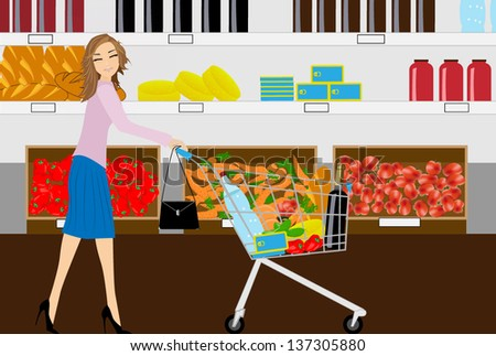 the woman in grocery shop - stock vector