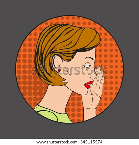 The Woman whispering a secret. Vector Illustration in retro style. - stock vector