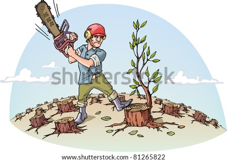 The woodcutter with the chainsaw is cutting the last tree in a forest. - stock vector