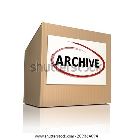the word archive on a paper box over white background