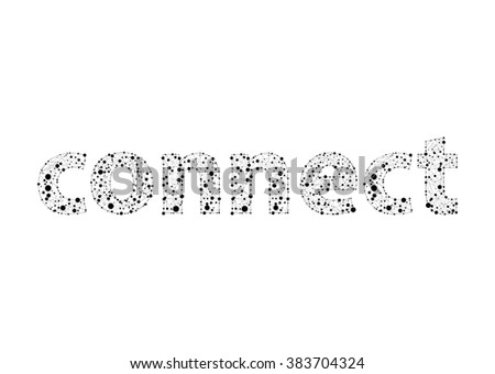 The word connect in lines and dots - stock vector