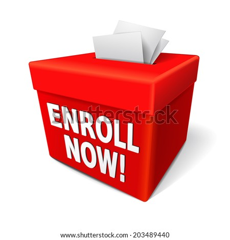 the word enroll now on the red box and enrollment application form entry box - stock vector
