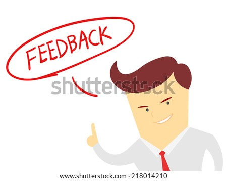the word feedback with Businessman isolated on a white background - stock vector