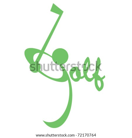 "The word golf where the ""g"" is swinging it's club at a ball as if standing on the fairway."