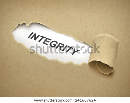 the word integrity behind brown torn paper - stock vector