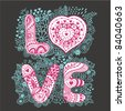 """The word """"love"""".Romantic background - stock vector"""