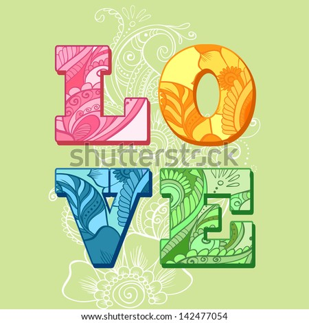 """The word """"love"""". Romantic ornament background - stock vector"""