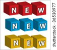 "The word ""NEW"" assembled in bricks of three colours - stock vector"