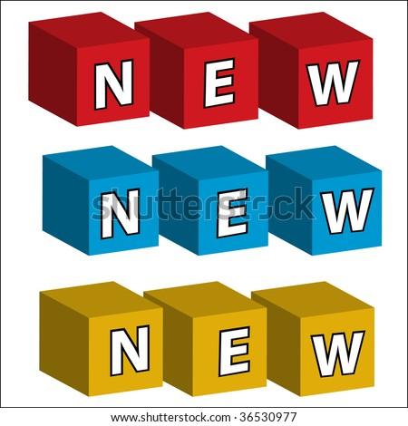 """The word """"NEW"""" assembled in bricks of three colours - stock vector"""