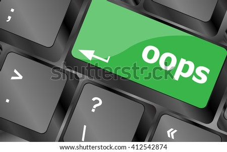 The word oops on a computer keyboard. Keyboard keys icon button vector - stock vector