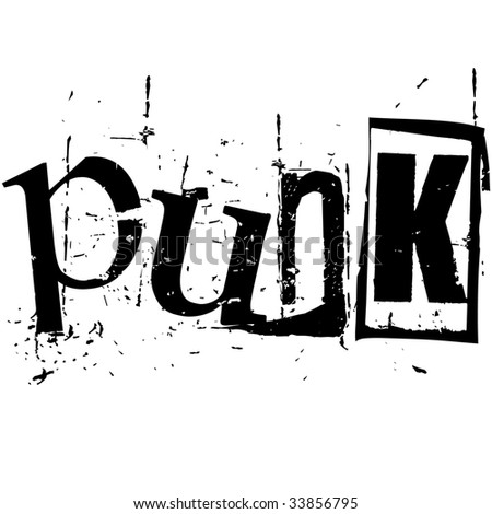 the word punk written in grunge cutout style - stock vector