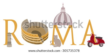 """The word ROMA with some typical elements of Rome city: one of its fountains called """"nasoni"""" (for their nose-shaped spigots), the Colosseum, a cat, the St. Peter's Basilica's dome and a Vespa scooter - stock vector"""