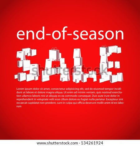the word SALE is made of white paper bags on red background