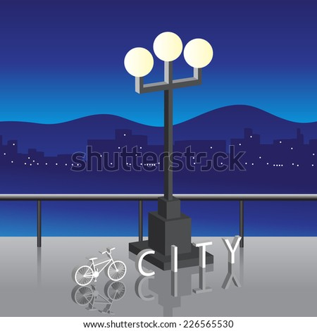 The word the city and the bicycle, about a lamp against buildings and mountains - stock vector