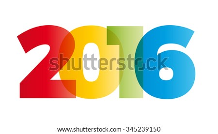 The word 2016. Vector banner with the text colored rainbow.