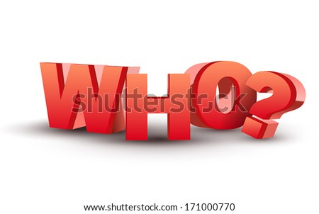 The word Who in red 3D letters isolated white background
