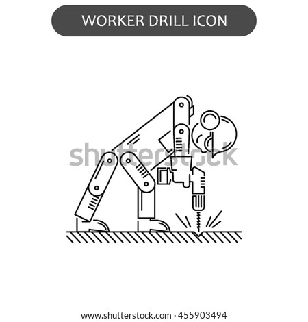 The worker on building drills a wall a drill and the screw gun in different poses. Set of icons executed in black lines on a white background. The web and other carriers is suitable for an infographic