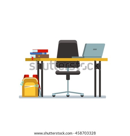 The workplace of the student with laptop, books and school bag in class isolated. Vector illustration of school place on white background.