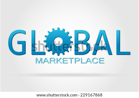 The world and the global marketplace isolated on a white background. - stock vector