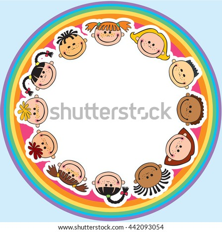 The world children in a circle white background single child vector cute friendship,fun, happiness, circle, illustration, childhood, rainbow - stock vector