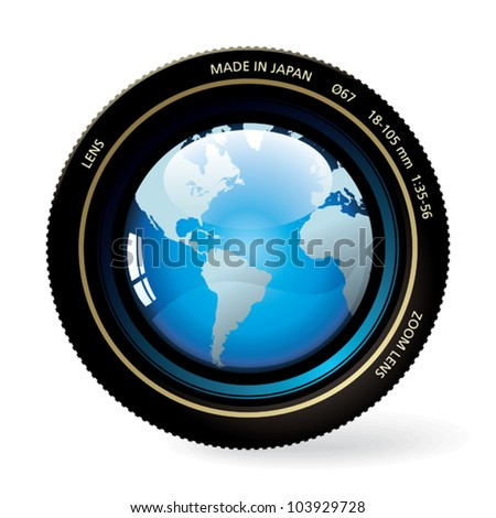 The world in the lens. - stock vector