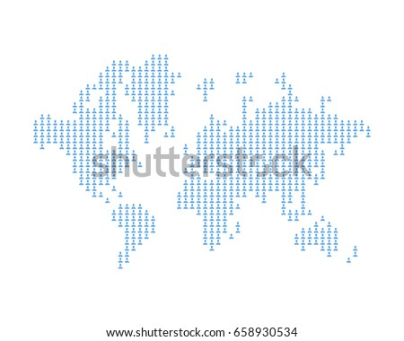 Abstract world map square dots flat stock vector 601504859 the world map consists of icon social avatar a concept on social networks flat gumiabroncs Images