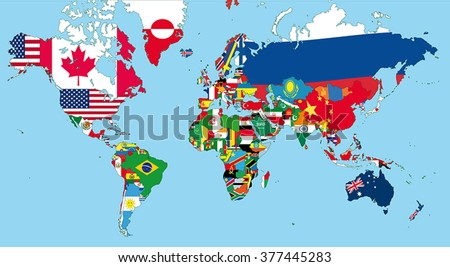 World map all states their flags stock vector 377445283 shutterstock the world map with all states and their flags gumiabroncs Gallery