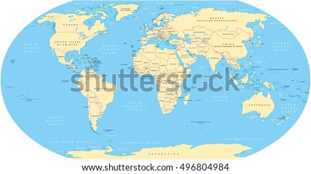 The world map with national borders, oceans and seas under the Robinson projection. English labeling. Illustration.