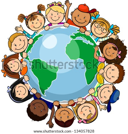 The world's children in a circle in the world-single level-without the effects of transparency-EPS 8 - stock vector