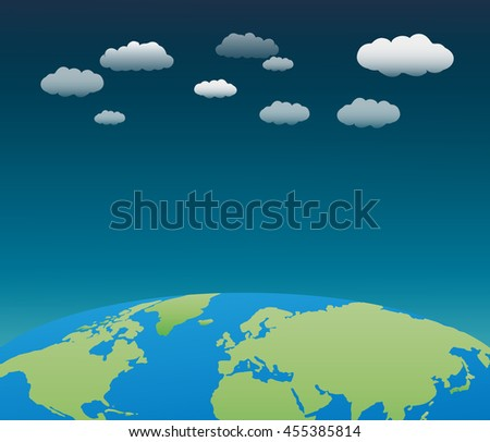 The world with clouds background - stock vector