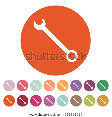 The wrench icon. Settings symbol. Flat Vector illustration. Button Set - stock vector