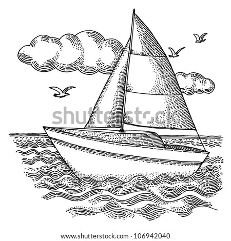 The Yacht with clouds - stock vector