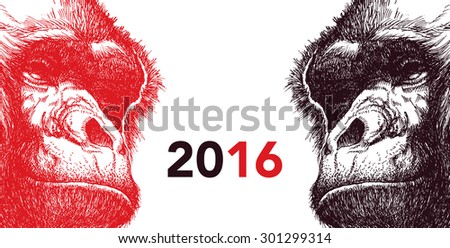 The year of monkey. Chinese new year 2016. Monkey year. Vector illustration. - stock vector