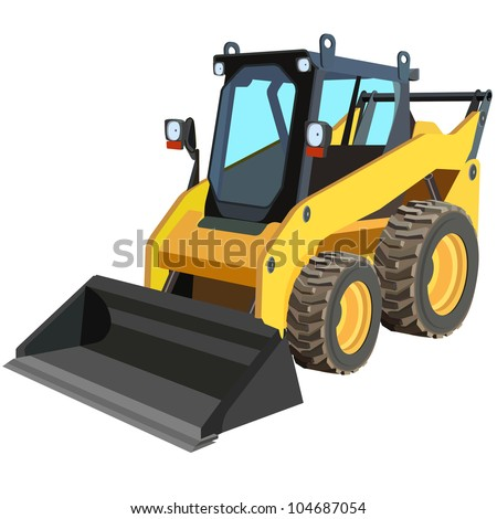 The yellow truck with a scraper to lift cargo. - stock vector