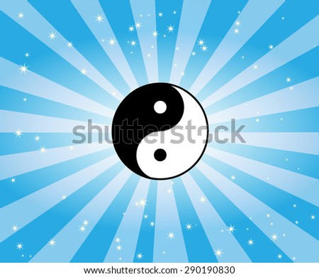 The Ying-Yang Symbol Beaming Light - stock vector