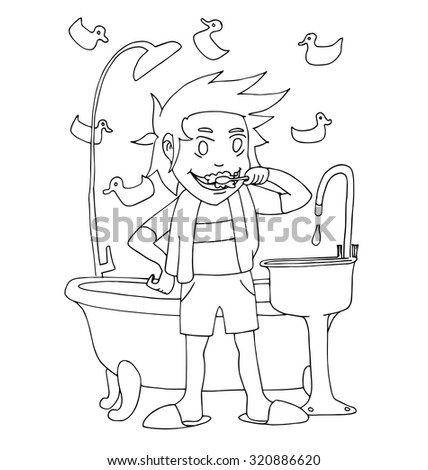 The Young Boy Brushing Teeth In Bathroom Hand Drawing Cartoon Outline For Coloring Isolated On