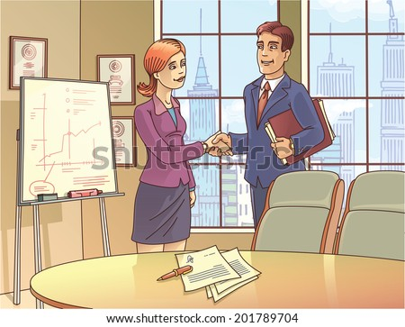 The young businessman and the businesswoman are glad to sign the contract and shaking the hands in the meeting room. - stock vector