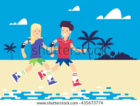 The young couple characters running across the ocean beach, through the palms. Pretty boy and girl with the players and the professional app. Vector flat illustration. Very easy to edit.  - stock vector